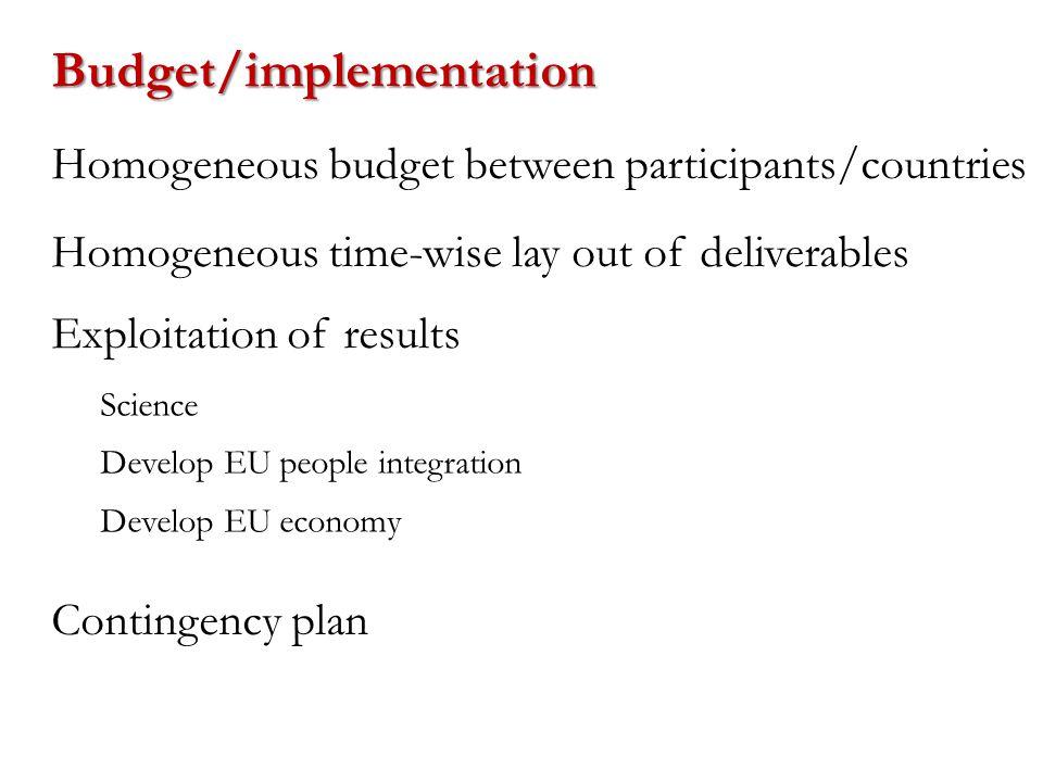 Homogeneous budget between participants/countries Exploitation of results Contingency plan Science Develop EU people integration Develop EU economy Bu