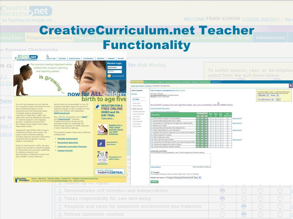 Copyright 2006, Teaching Strategies, Inc. CreativeCurriculum.net Teacher Functionality