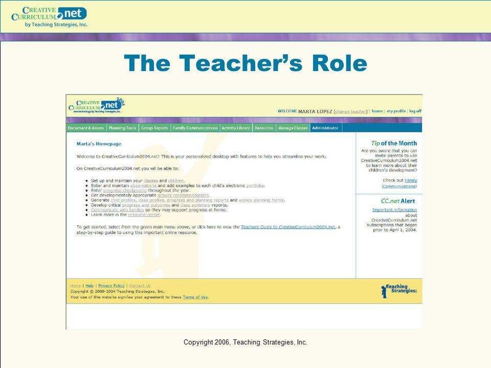 Copyright 2006, Teaching Strategies, Inc. The Teacher's Role
