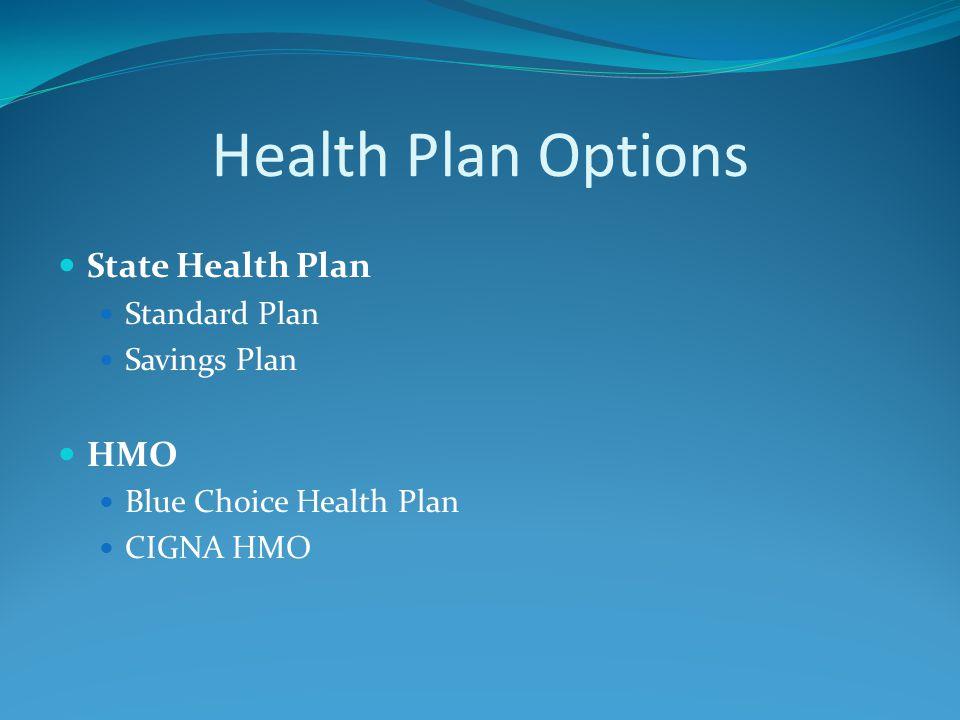 Health Plan Options State Health Plan Standard Plan Savings Plan HMO Blue Choice Health Plan CIGNA HMO