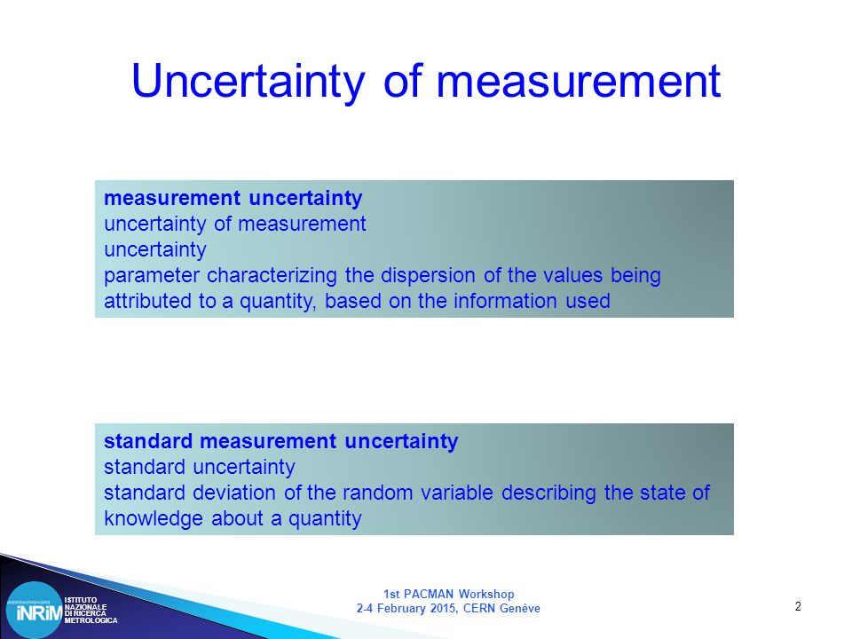 ISTITUTO NAZIONALE DI RICERCA METROLOGICA 3 Some dates 1st PACMAN Workshop 2-4 February 2015, CERN Genève 1977-79 BIPM questionnaire on uncertainties 1980 Recommendation INC-1 1981 Establishment of WG3 on uncertainties under ISO TAG4: BIPM, IEC, IFCC, ISO, IUPAC, IUPAP, OIML 1981 Recommendation CI-1981 1986 Recommendation CI-1986 1993 Guide to the expression of uncertainty in measurement (GUM) 1995 Reprint with minor corrections 1997 Establishment of the Joint Committee for Guides in Metrology, JCGM.