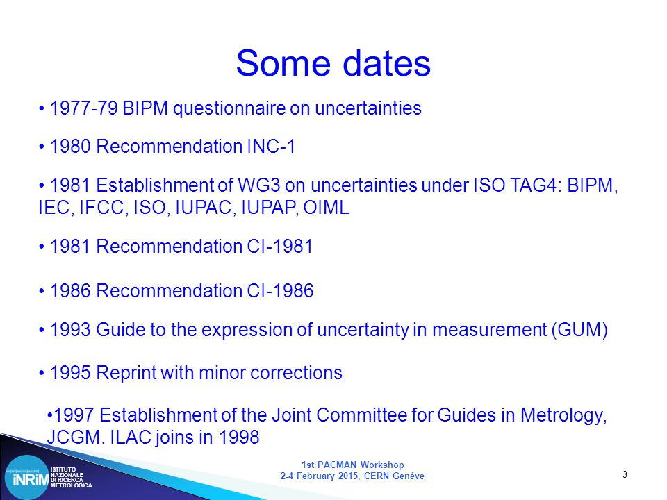 ISTITUTO NAZIONALE DI RICERCA METROLOGICA 24 Supplement 1 1st PACMAN Workshop 2-4 February 2015, CERN Genève The (numerical) mechanism is the Monte Carlo method: