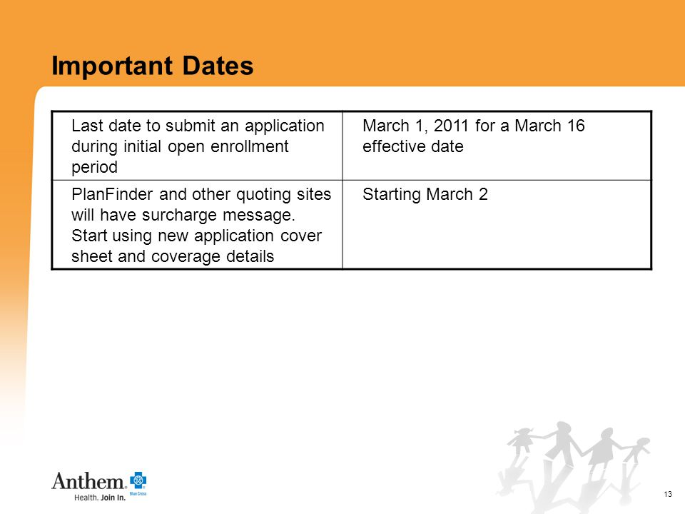 13 Important Dates Last date to submit an application during initial open enrollment period March 1, 2011 for a March 16 effective date PlanFinder and other quoting sites will have surcharge message.