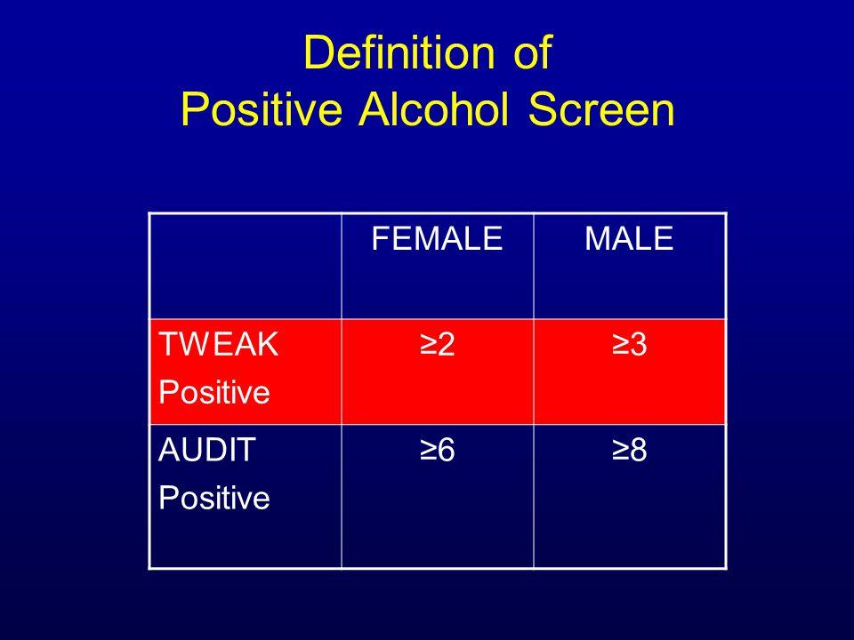 Definition of Positive Alcohol Screen FEMALEMALE TWEAK Positive ≥2≥3 AUDIT Positive ≥6≥8