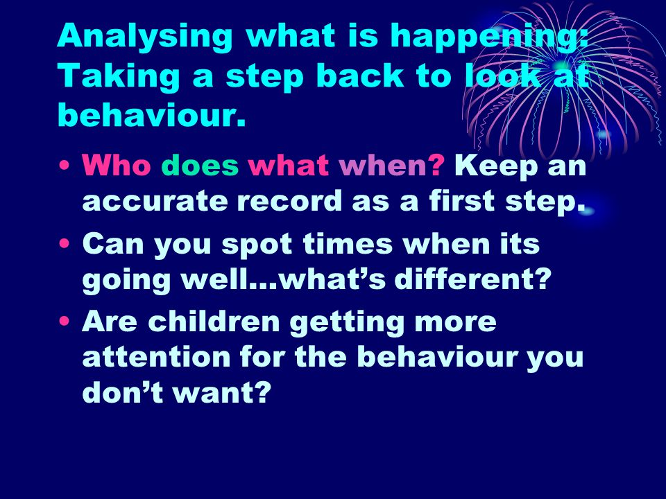 Analysing what is happening: Taking a step back to look at behaviour.