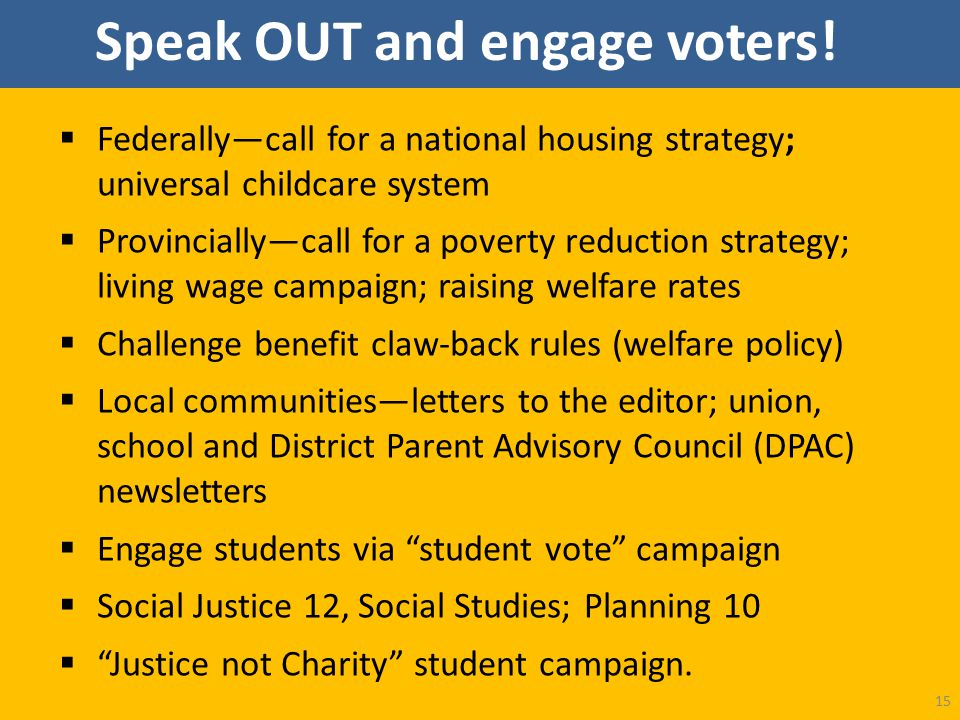 Speak OUT and engage voters!  Federally—call for a national housing strategy; universal childcare system  Provincially—call for a poverty reduction