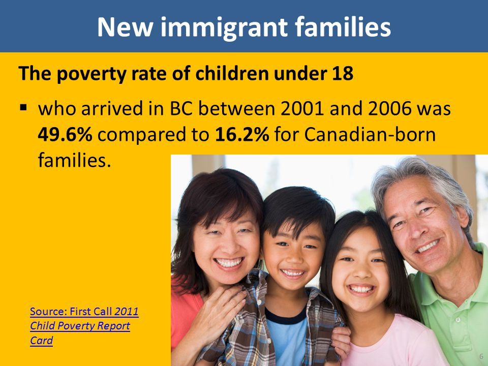 New immigrant families The poverty rate of children under 18  who arrived in BC between 2001 and 2006 was 49.6% compared to 16.2% for Canadian-born f