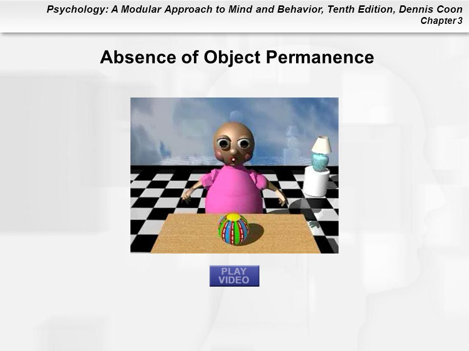 Psychology: A Modular Approach to Mind and Behavior, Tenth Edition, Dennis Coon Chapter 3 Absence of Object Permanence