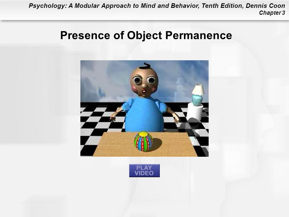 Psychology: A Modular Approach to Mind and Behavior, Tenth Edition, Dennis Coon Chapter 3 Presence of Object Permanence