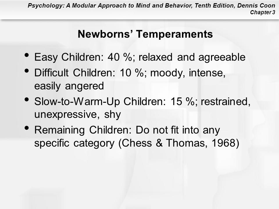 Psychology: A Modular Approach to Mind and Behavior, Tenth Edition, Dennis Coon Chapter 3 Newborns' Temperaments Easy Children: 40 %; relaxed and agreeable Difficult Children: 10 %; moody, intense, easily angered Slow-to-Warm-Up Children: 15 %; restrained, unexpressive, shy Remaining Children: Do not fit into any specific category (Chess & Thomas, 1968)