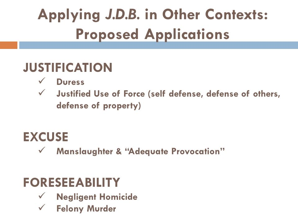 """JUSTIFICATION Duress Justified Use of Force (self defense, defense of others, defense of property) EXCUSE Manslaughter & """"Adequate Provocation"""" FORESE"""