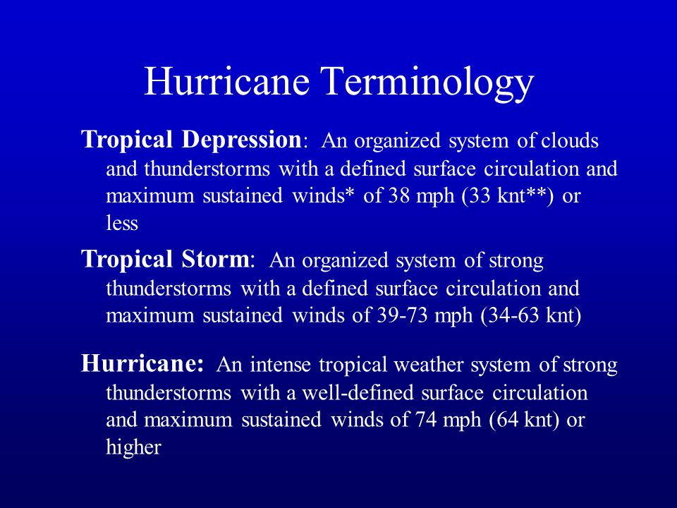 Tropical Depression : An organized system of clouds and thunderstorms with a defined surface circulation and maximum sustained winds* of 38 mph (33 kn
