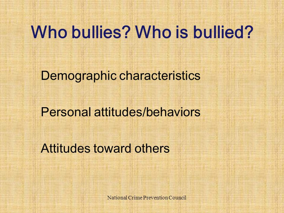 Demographic characteristics Personal attitudes/behaviors Attitudes toward others National Crime Prevention Council Who bullies? Who is bullied?