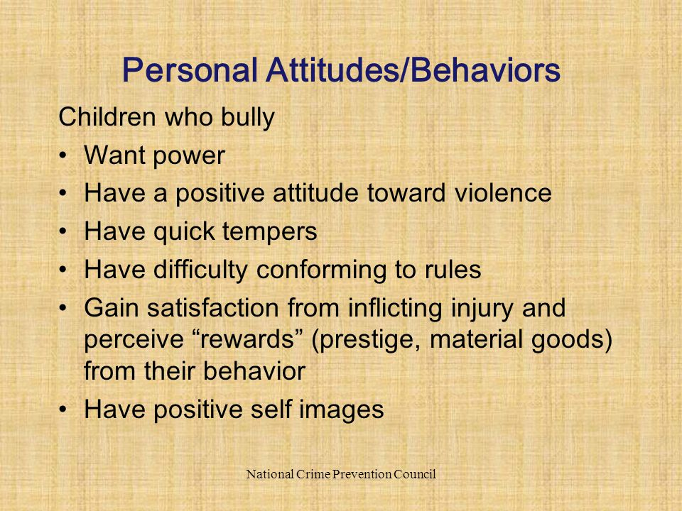Children who bully Want power Have a positive attitude toward violence Have quick tempers Have difficulty conforming to rules Gain satisfaction from inflicting injury and perceive rewards (prestige, material goods) from their behavior Have positive self images National Crime Prevention Council Personal Attitudes/Behaviors