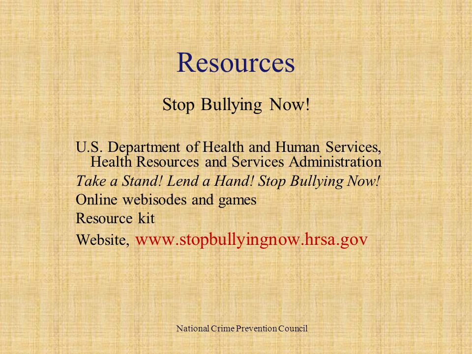 Stop Bullying Now. U.S.