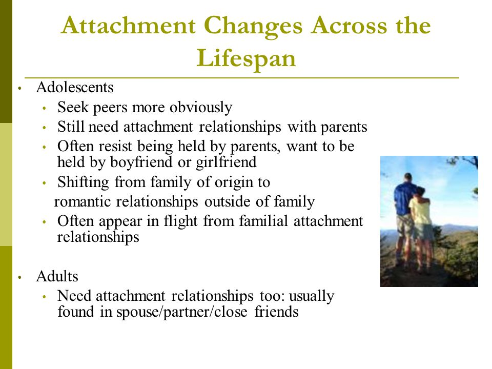 Attachment Changes Across the Lifespan Adolescents Seek peers more obviously Still need attachment relationships with parents Often resist being held