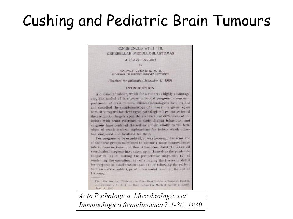 Cushing and Pediatric Brain Tumours Acta Pathologica, Microbiologica et Immunologica Scandinavica 7:1-86, 1930 Surgery, Gynecology and Obstetrics 52: