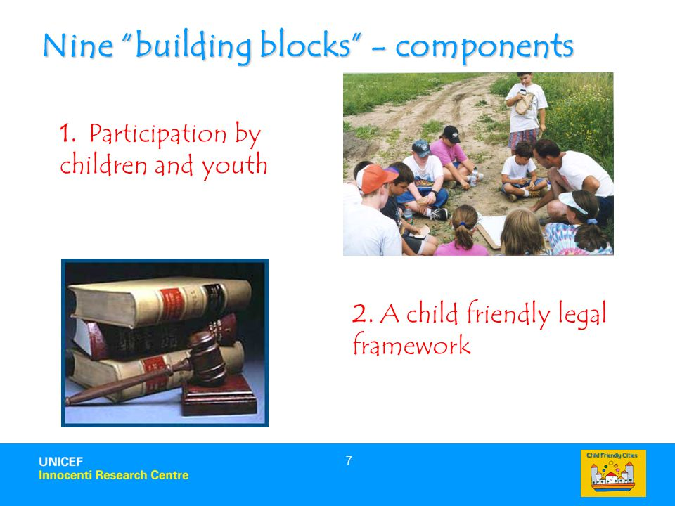 7 Nine building blocks - components 1. Participation by children and youth 2.