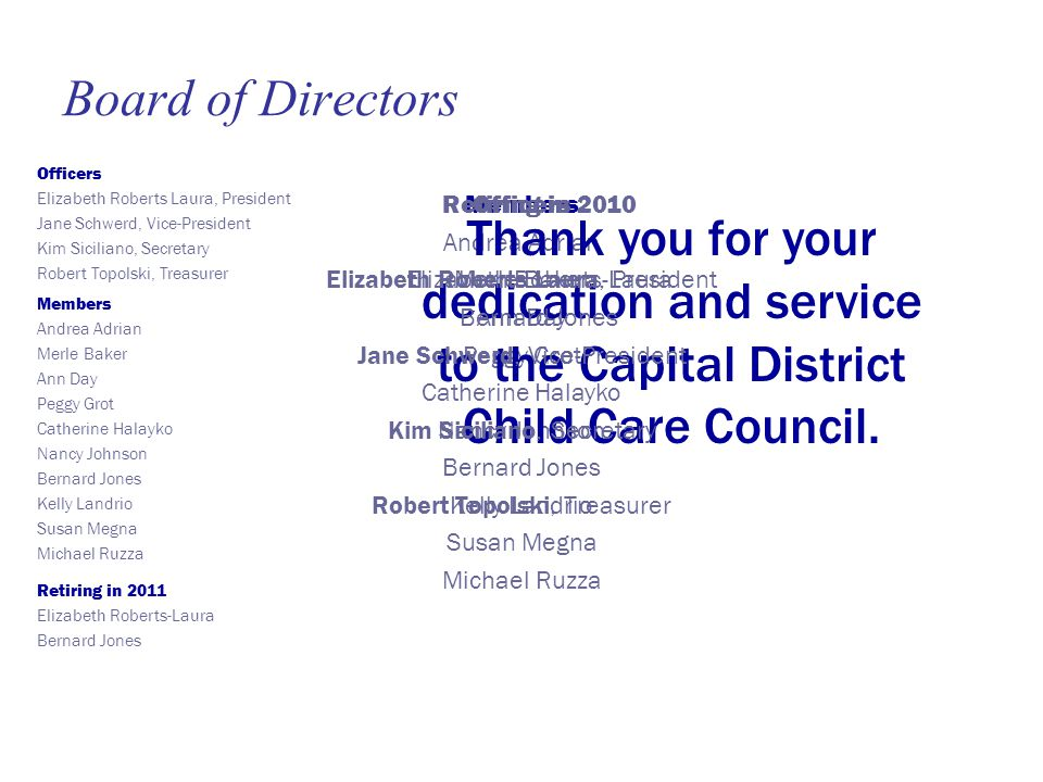 Members Andrea Adrian Merle Baker Ann Day Peggy Grot Catherine Halayko Nancy Johnson Bernard Jones Kelly Landrio Susan Megna Michael Ruzza Thank you for your dedication and service to the Capital District Child Care Council.