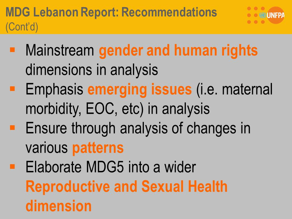 MDG Lebanon Report: Recommendations (Cont'd)  Mainstream gender and human rights dimensions in analysis  Emphasis emerging issues (i.e.