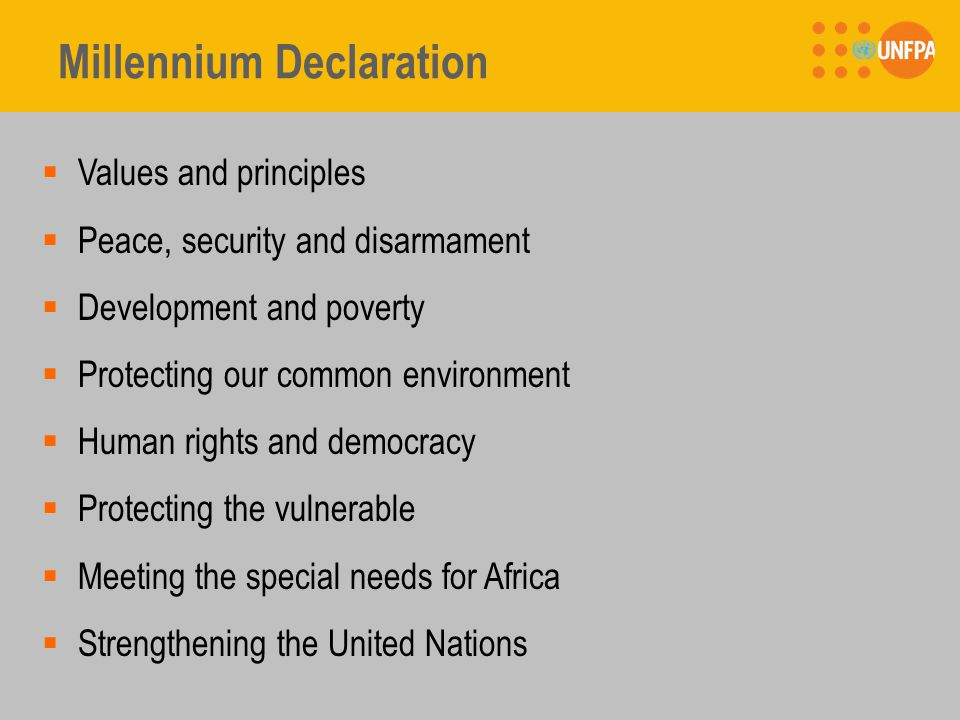 Millennium Declaration  Values and principles  Peace, security and disarmament  Development and poverty  Protecting our common environment  Human rights and democracy  Protecting the vulnerable  Meeting the special needs for Africa  Strengthening the United Nations