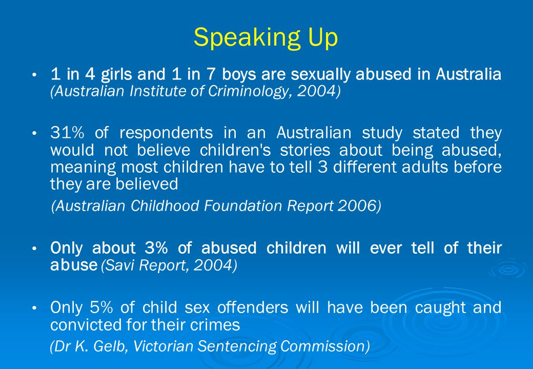 Speaking Up 1 in 4 girls and 1 in 7 boys are sexually abused in Australia (Australian Institute of Criminology, 2004) 31% of respondents in an Austral