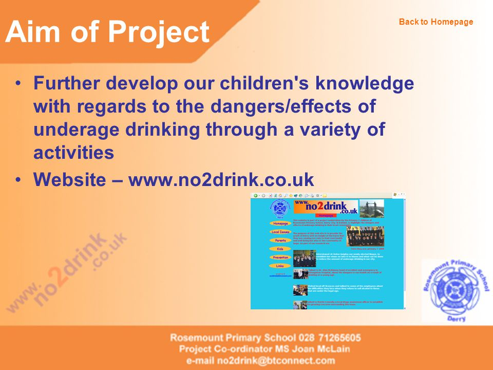 Aim of Project The no2drink web site Back to Homepage