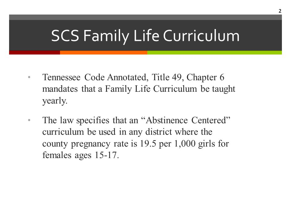  SCS Family Life Curriculum-Continued The pregnancy rate in Shelby County for girls 15-17 is per 1,000 girls.
