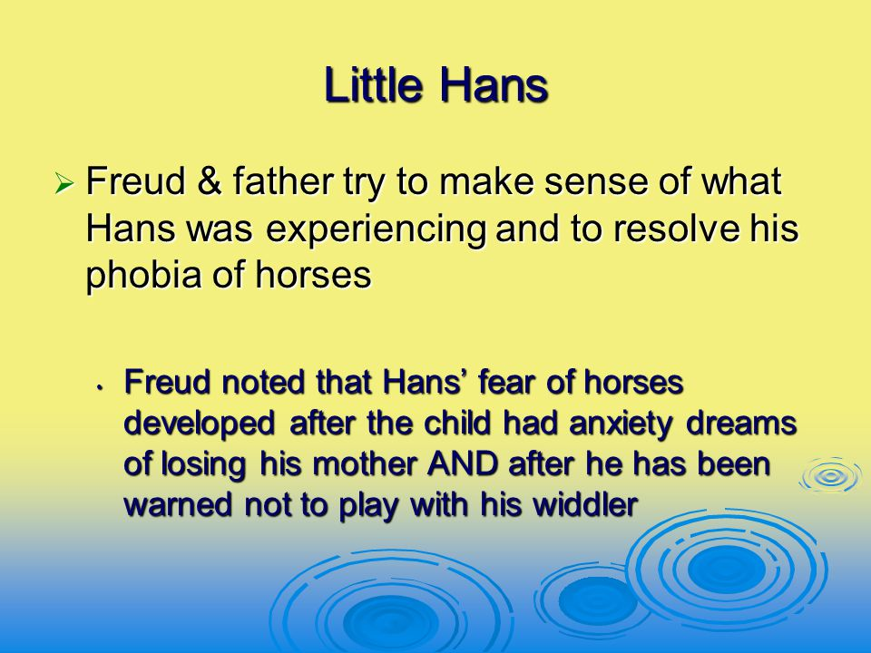 Little Hans  Freud & father try to make sense of what Hans was experiencing and to resolve his phobia of horses Freud noted that Hans' fear of horses