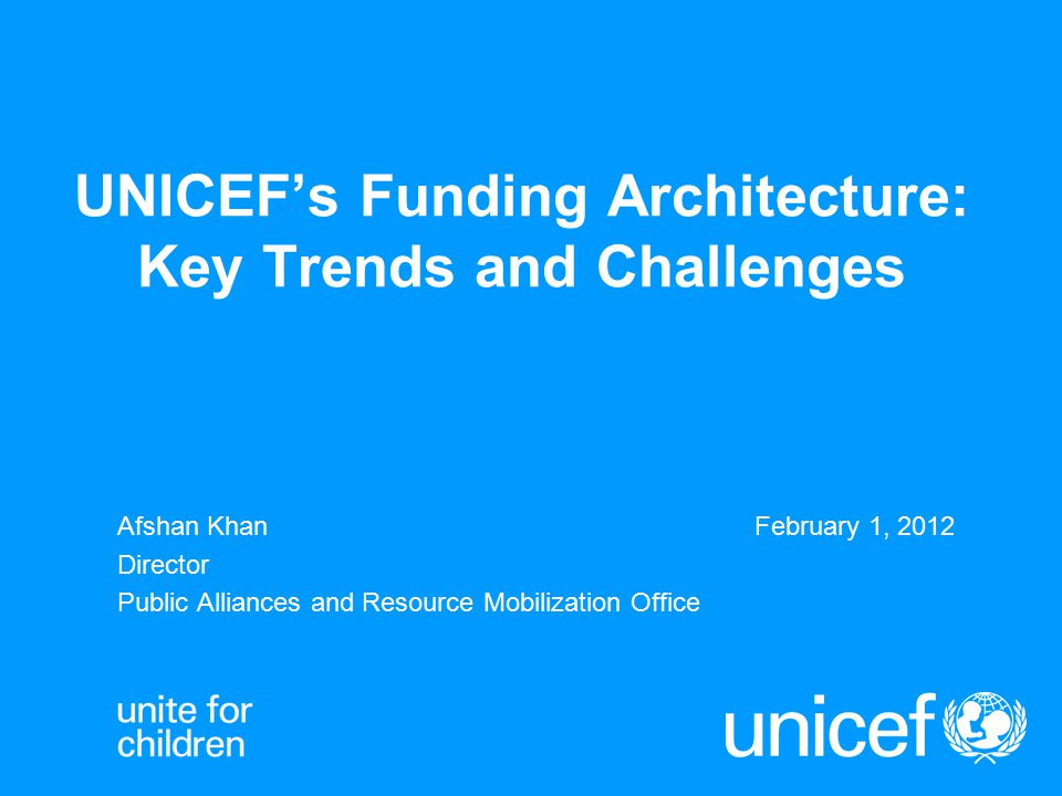 Presentation Outline 2 A.Review of key funding trends B.Predictability of core resources for UNICEF's mandate C.Multiplicity of funding sources for a broad donor base D.Quality non-core resources: UNICEF thematic funds E.Non-core emergency funding: underfunded crises F.Programme expenditures G.Narrowing the gaps in achieving MDGs with equity
