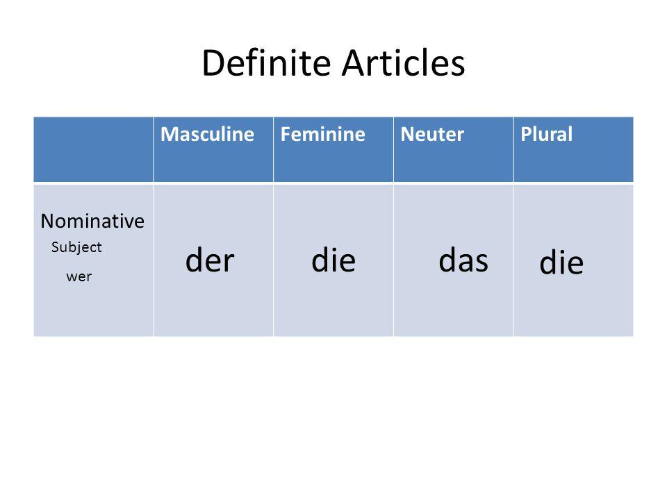 Definite Articles MasculineFeminineNeuterPlural Nominative Subject wer derdiedas die
