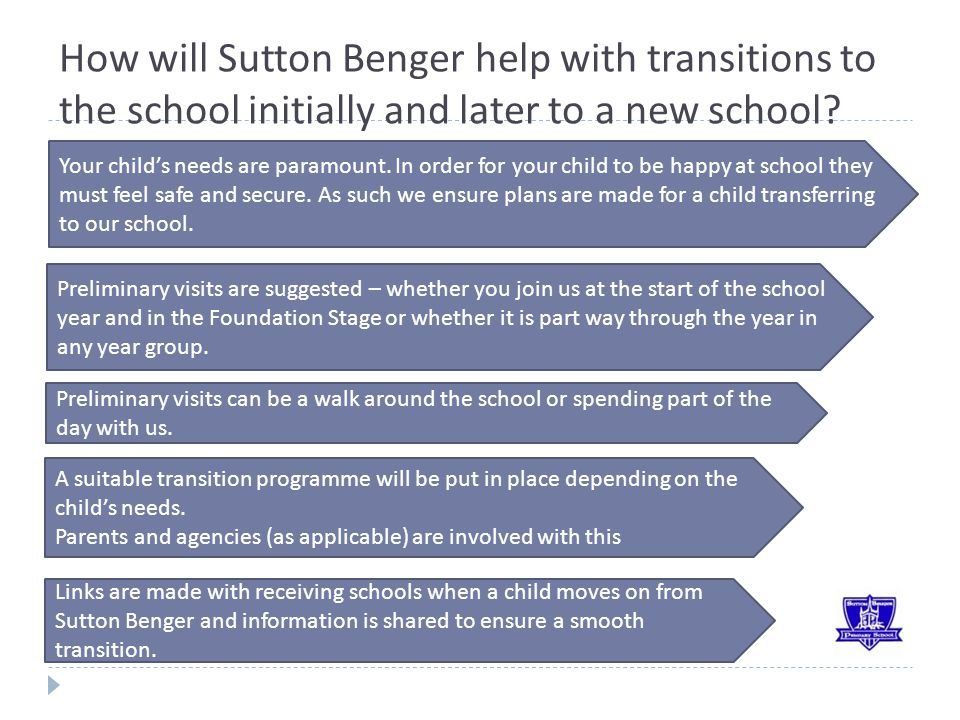 How will Sutton Benger help with transitions to the school initially and later to a new school.