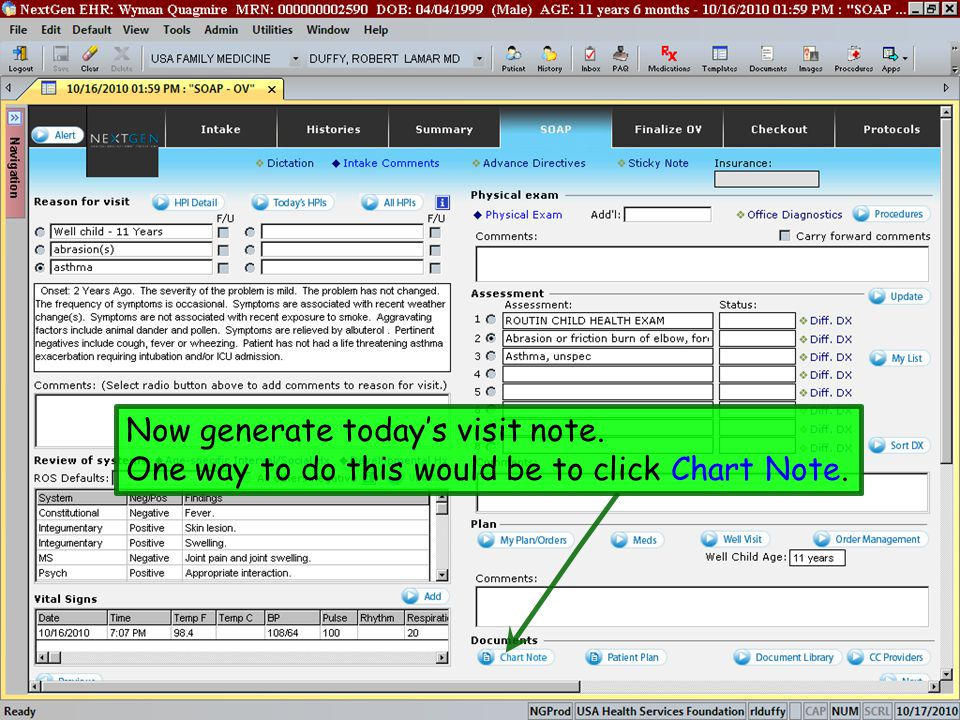 Now generate today's visit note. One way to do this would be to click Chart Note.
