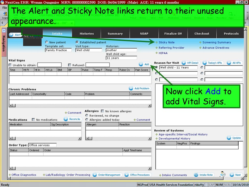 Now click Add to add Vital Signs. The Alert and Sticky Note links return to their unused appearance.