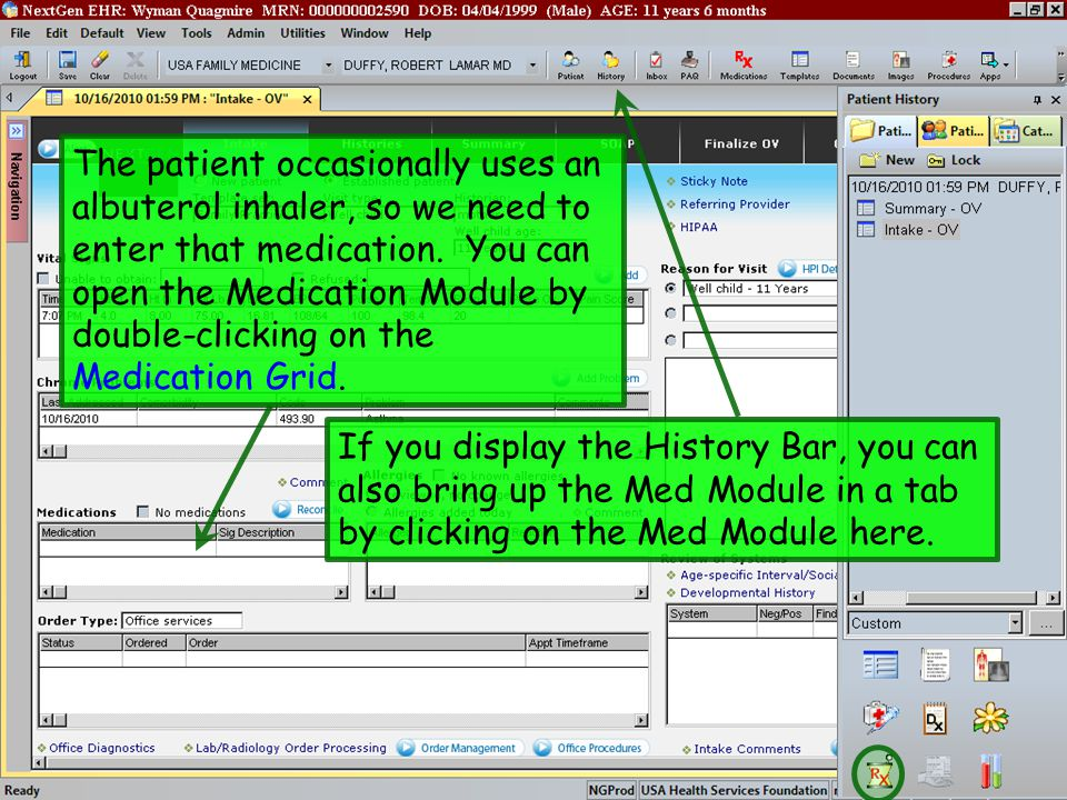 The patient occasionally uses an albuterol inhaler, so we need to enter that medication. You can open the Medication Module by double-clicking on the