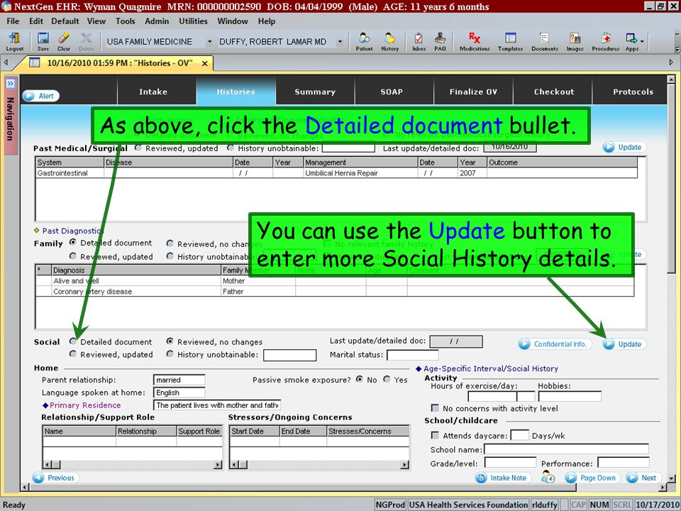 As above, click the Detailed document bullet. You can use the Update button to enter more Social History details.