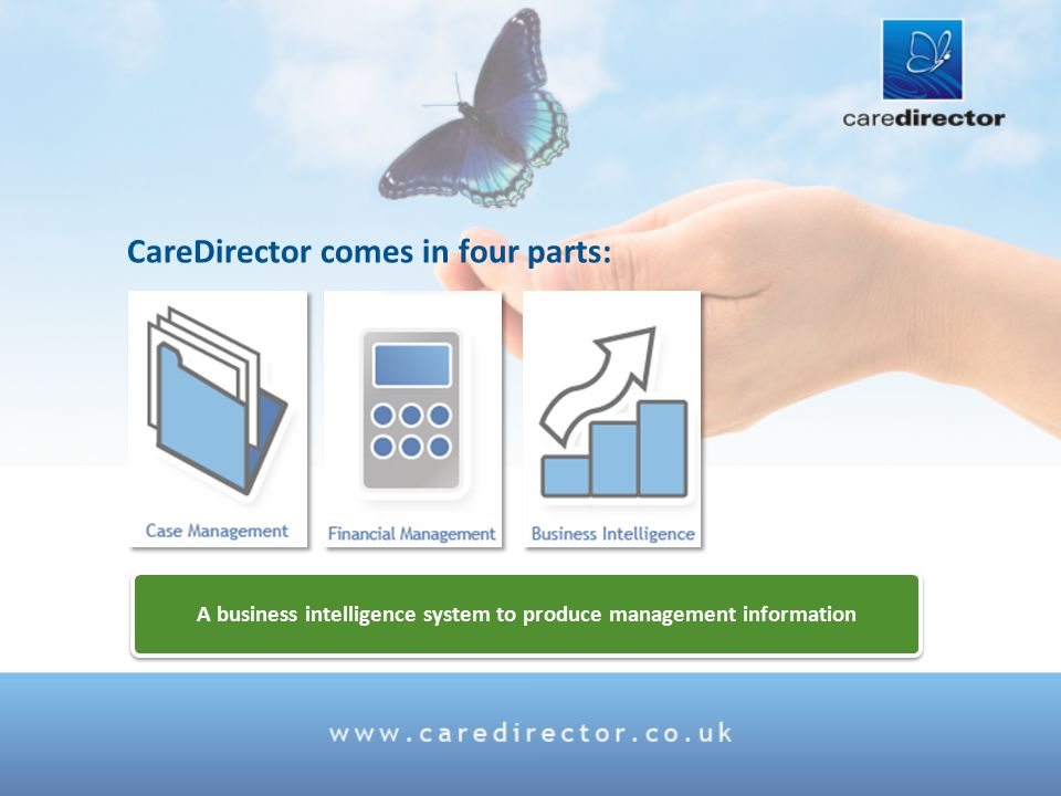 A business intelligence system to produce management information CareDirector comes in four parts: