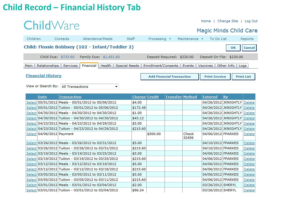 Child Record – Financial History Tab