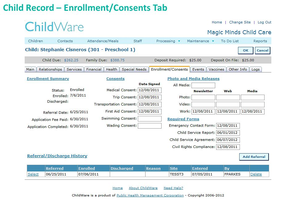 Child Record – Enrollment/Consents Tab