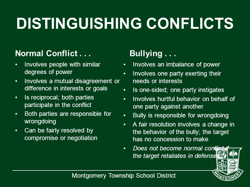 Montgomery Township School District DISTINGUISHING CONFLICTS Normal Conflict... Involves people with similar degrees of power Involves a mutual disagr