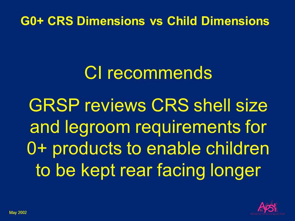 May 2002 G0+ CRS Dimensions vs Child Dimensions CI recommends GRSP reviews CRS shell size and legroom requirements for 0+ products to enable children to be kept rear facing longer