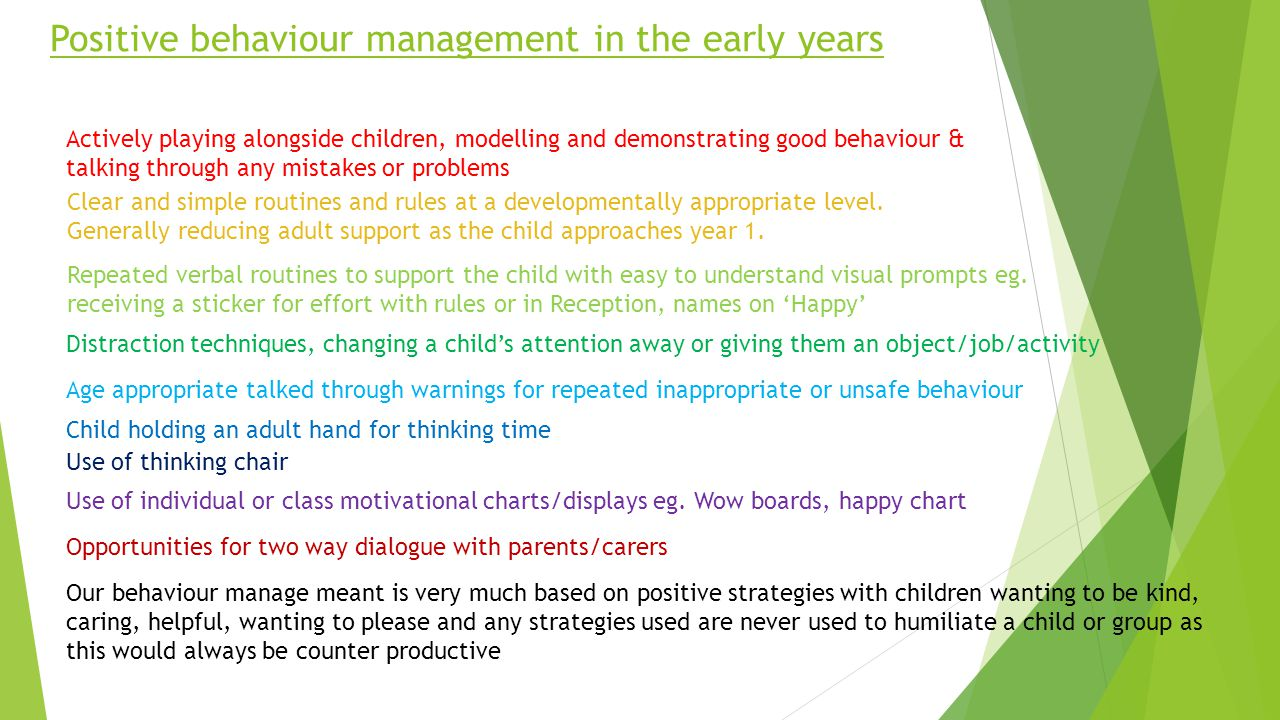 Positive behaviour management in the early years Actively playing alongside children, modelling and demonstrating good behaviour & talking through any mistakes or problems Clear and simple routines and rules at a developmentally appropriate level.