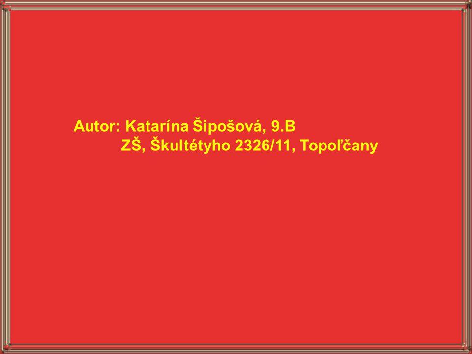 Autor: Katarína Šipošová, 9.B ZŠ, Škultétyho 2326/11, Topoľčany