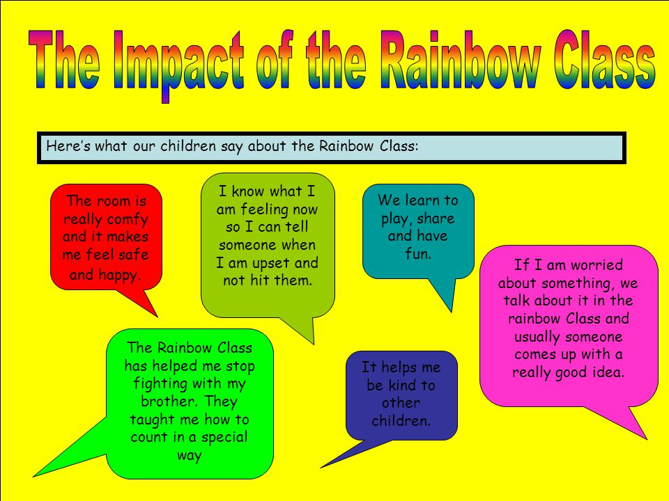 Here's what our children say about the Rainbow Class: The room is really comfy and it makes me feel safe and happy. We learn to play, share and have f