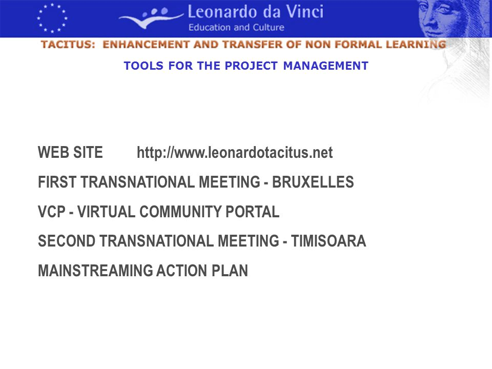 WEB SITE http://www.leonardotacitus.net FIRST TRANSNATIONAL MEETING - BRUXELLES VCP - VIRTUAL COMMUNITY PORTAL SECOND TRANSNATIONAL MEETING - TIMISOARA MAINSTREAMING ACTION PLAN TOOLS FOR THE PROJECT MANAGEMENT
