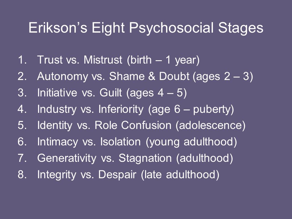 Erik Erikson (1902 - 1994) Believed that our personalities continued to develop throughout our lives, contradicting Freud's theory that our personalities were in tact by age five.