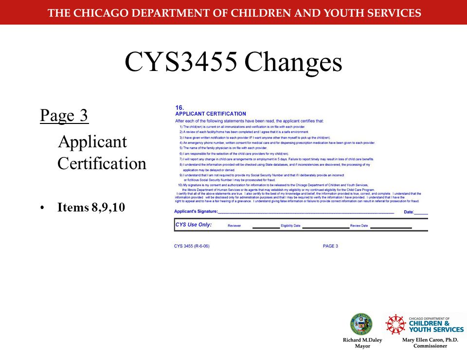 CYS3455 Changes Page 2b Members page Effective June 1, 2006 All members counted in the family size excluding children