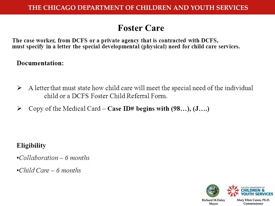 Non –DCFS Social Service Agency Referral Cases Documentation:  Must include an evaluation of the current child/family situation and need for the children to receive child care service.