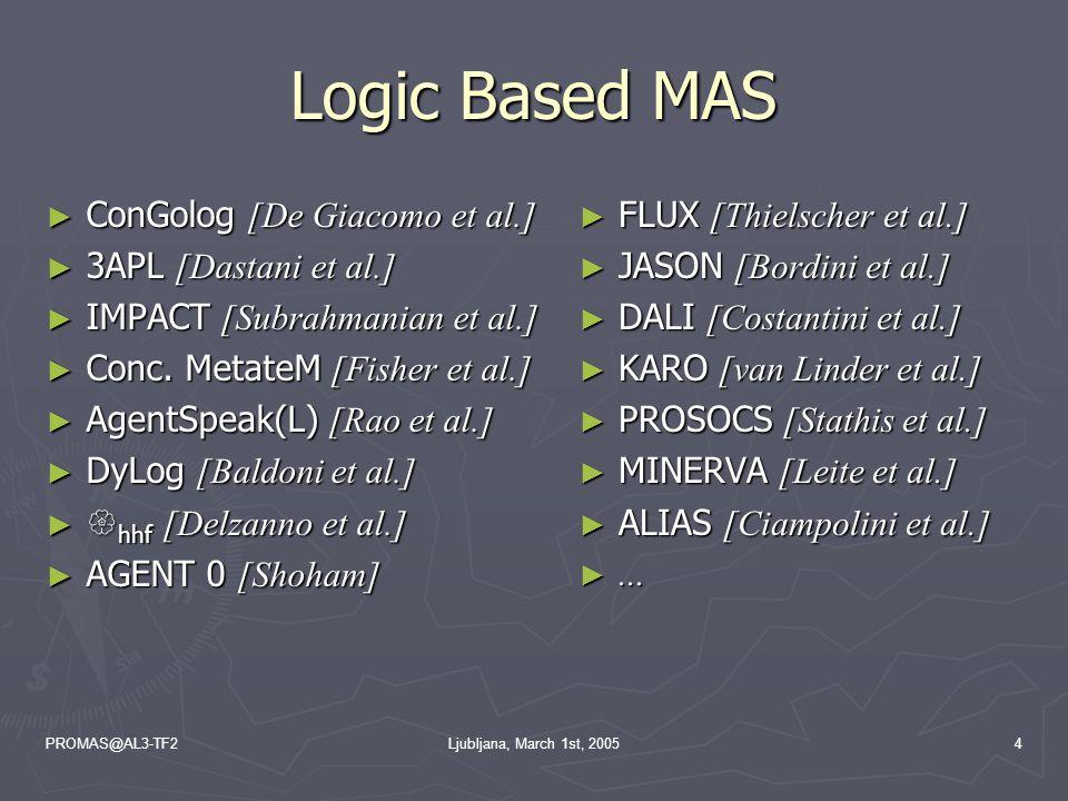 PROMAS@AL3-TF2Ljubljana, March 1st, 20054 Logic Based MAS ► ConGolog [De Giacomo et al.] ► 3APL [Dastani et al.] ► IMPACT [Subrahmanian et al.] ► Conc.