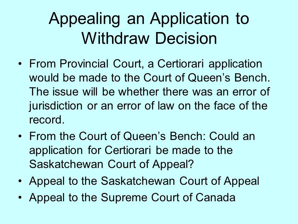 A View from the Saskatchewan Provincial Court Application of the Case to Saskatchewan Practice Directives